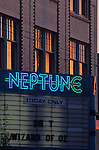Sunset with Neptune Theater, Neon Signs in front of the theater University District Seattle Washington State USA