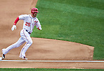 4 April 2014: Washington Nationals first baseman Adam LaRoche rounds third and heads home in the 4th inning against the Atlanta Braves during the Nationals Home Opening Game at Nationals Park in Washington, DC. The Braves edged out the Nationals 2-1 in their first meeting of the 2014 MLB season. Mandatory Credit: Ed Wolfstein Photo *** RAW (NEF) Image File Available ***