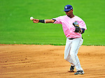 "18 July 2010: Vermont Lake Monsters infielder Hendry Jimenez in action against the Staten Island Yankees at Centennial Field in Burlington, Vermont. The Lake Monsters, dressed in their Breast Cancer Awareness ""Pinks"", fell to the Yankees 9-5 in NY Penn League action. Mandatory Credit: Ed Wolfstein Photo"