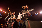 "The Avett Brothers, Scott, left, and Seth, wail during a performance of ""Talk on Indolence"" during a show in Pittsburgh, PA, Saturday, June 21, 2008."