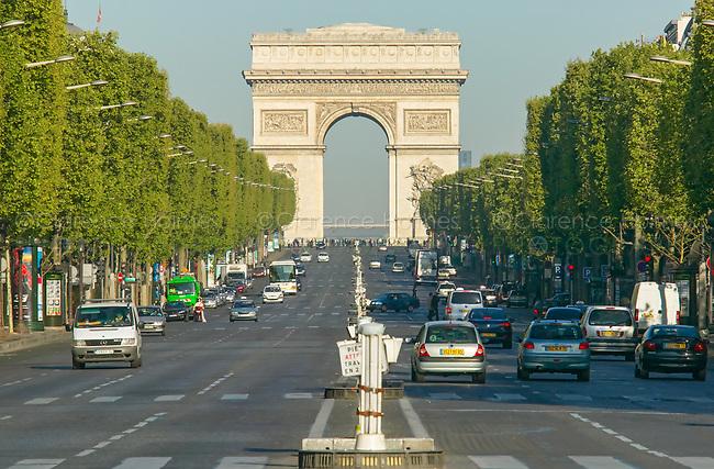 The Arc de Triomphe and avenue Champs-Élysées as viewed from the  Place de la Concorde