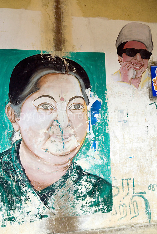 Mural in small village of jayalalitha chief minister of for Asha ramachandran mural painting