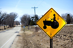 A tractor crossing sign in southern Wisconsin. ..