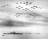 F4U's F6F's fly in formation during surrender ceremonies; Tokyo, Japan.  USS MISSOURI (in) left foreground.  September 2, 1945. (Navy)<br /> NARA FILE #:  080-G-421130<br /> WAR &amp; CONFLICT BOOK #:  1370