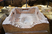 Walk in Early Medieval Baptismal font in the Baptistry of St John excavations, Santi Giovanni e Reparata, Lucca, Tunscany, Italy