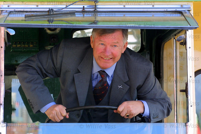 Sir Alex Ferguson in a Govan bus outside Ibrox Stadium, 2001