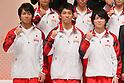 (L to R) Yusuke Tanaka (JPN), Kazuhito Tanaka (JPN), Kohei Uchimura (JPN), September 12, 2011 - Artistic Gymnastics : Kohei Uchimura attend press conference in Tokyo, Japan, regarding the Artistic Gymnastics World Championships 2011 Tokyo. (Photo by Yusuke Nakanishi/AFLO SPORT) [1090]