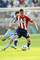 Chivas USA defender Zarek Valentin in action... Sporting KC and Chivas USA played to a 1-1 tie at LIVESTRONG Sporting Park, Kansas City, Kansas.