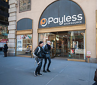 A soon to be closed Payless ShoeSource store in New York on Wednesday, March 22, 2017. Payless plans to shutter between 400 and 500 stores and is reported to be ready to seek bankruptcy protection next week. (© Richard B. Levine)