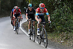 Bob Jungels (LUX) Quick-Step Floors leads Geraint Thomas (WAL) Team Sky with Tim Wellens (BEL) Lotto-Soudal and race leader Damiano Cunego (ITA) BMC Racing Team behind on the slopes of the final climb during Stage 2 of the 2017 Tirreno Adriatico running 229km from Camaiore to Pomarance, Italy. 9th March 2017.<br /> Picture: La Presse/Fabio Ferrari | Cyclefile<br /> <br /> <br /> All photos usage must carry mandatory copyright credit (&copy; Cyclefile | La Presse)