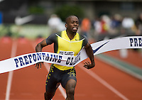 EUGENE, OR--Michael Frater of Jamaica breaks the tape in the men's 100m at the Steve Prefontaine Classic, Hayward Field, Eugene, OR. SUNDAY, JUNE 10, 2007. PHOTO © 2007 DON FERIA