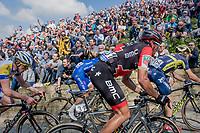 Greg Van Avermaet (BEL/BMC) up the infamous Muur van Geraardsbergen (1100m/7.6%) that is back in the parcours after a 5 year hiatus<br /> <br /> 101th Ronde Van Vlaanderen 2017 (1.UWT)<br /> 1day race: Antwerp &rsaquo; Oudenaarde - BEL (260km)