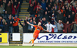 St Johnstone v Dundee United...11.02.12.. SPL.Johnny Russell celebrates his goal.Picture by Graeme Hart..Copyright Perthshire Picture Agency.Tel: 01738 623350  Mobile: 07990 594431
