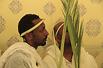 Israel, Jerusalem, Ethiopian Orthodox Pilgrims celebrate Palm Sunday at the Church of the Holy Sepulchre