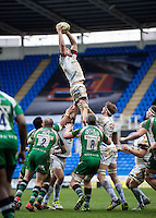 Julian Salvi of Exeter Chiefs wins the ball at a lineout. Aviva Premiership match, between London Irish and Exeter Chiefs on February 21, 2016 at the Madejski Stadium in Reading, England. Photo by: Patrick Khachfe / JMP