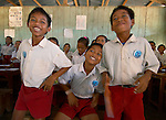 Happy kids with RARE Pride materials, Komodo Village, Komodo National Park