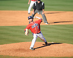 Ole Miss' Jeremy Massie (35) pitches vs. Rhode Island at Oxford-University Stadium in Oxford, Miss. on Sunday, February 24, 2013. Ole Miss won 5-3 to improve to 7-0.