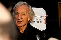 &quot;Protect Free Speech&quot;. John Pilger, Journalist and documentary maker.<br />