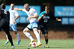 02 September 2013: North Carolina's Josh Rice (7) and Coastal Carolina's Shawn McLaws (13). The University of North Carolina Tar Heels hosted the Coastal Carolina University Chanticleers at Fetzer Field in Chapel Hill, NC in a 2013 NCAA Division I Men's Soccer match. UNC won the game 4-0.