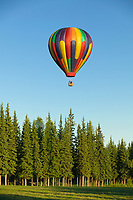 Midnight sun balloon tours, flies passengers over Fairbanks on a calm sunny evening, Fairbanks, Alaska