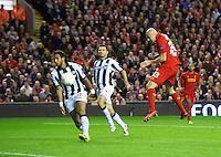 LIVERPOOL, ENGLAND - Thursday, October 4, 2012: Liverpool's Jonjo Shelvey scores the first goal against Udinese Calcio during the UEFA Europa League Group A match at Anfield. (Pic by David Rawcliffe/Propaganda)