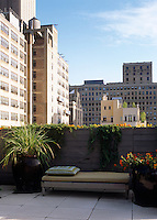 A view of neighbouring New York apartment blocks from this small terraced balcony