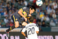 Boca Juniors forward Sergio Araujo (19) sends a head ball to the goal. The LA Galaxy defeated Boca Juniors 1-0 at Home Depot Center stadium in Carson, California on Sunday May 23, 2010.  .