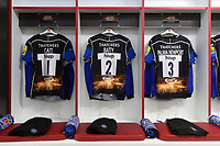 A general view of the Bath Rugby front row jerseys hung up in the changing room. The Clash, Aviva Premiership match, between Bath Rugby and Leicester Tigers on April 8, 2017 at Twickenham Stadium in London, England. Photo by: Patrick Khachfe / Onside Images