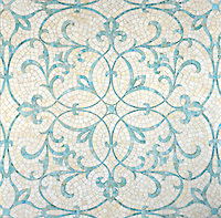 Marabel, a hand cut jewel glass mosaic, is shown in Aquamarine and Quartz.