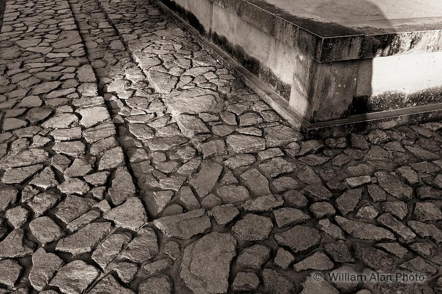 Cobble stone walking path at the foot of Koufuku-ji Temple in Nara Japan.