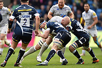Matt Garvey of Bath Rugby takes on the Sale Sharks defence. Aviva Premiership match, between Sale Sharks and Bath Rugby on May 6, 2017 at the AJ Bell Stadium in Manchester, England. Photo by: Patrick Khachfe / Onside Images