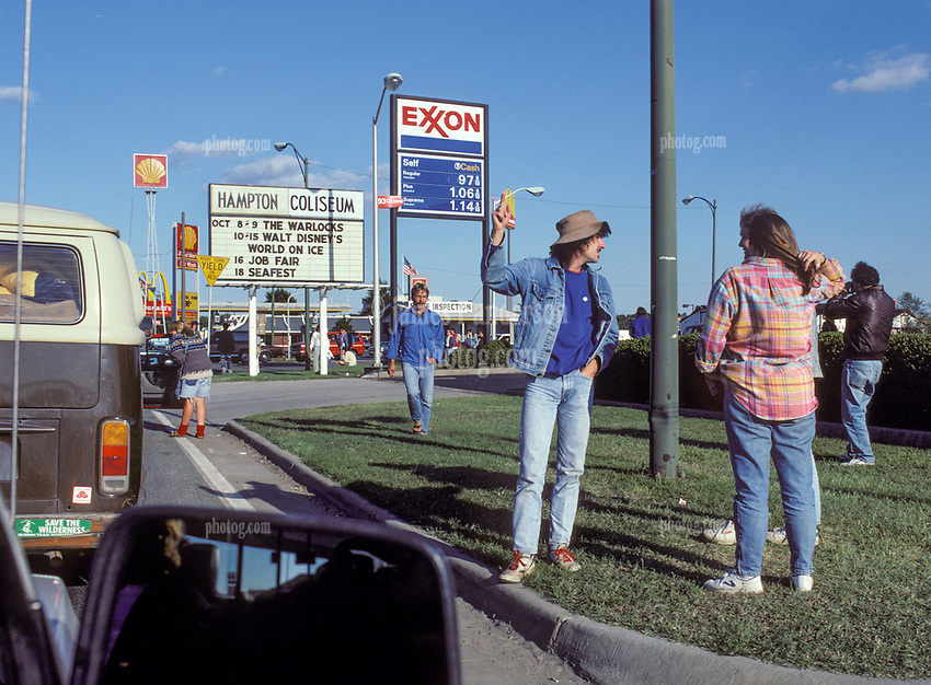 """Looking for a Ticket roadside and the Coliseum Marquee """"Warlocks"""". Outside the venue, Scenes before the Second Warlocks Show. The Grateful Dead Live at The Hampton Coliseum 9 October 1989"""
