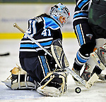 21 February 2009: University of Maine Black Bears' goaltender Genevieve Turgeon, a Senior from Lac Beauport, Quebec, in action against the University of Vermont Catamounts at Gutterson Fieldhouse in Burlington, Vermont. The Catamounts shut out the Black Bears 1-0. Mandatory Photo Credit: Ed Wolfstein Photo