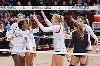 STANFORD, CA - October 14, 2016: Celebration at Maples Pavilion. The Arizona Wildcats defeated the Cardinal 3-1.