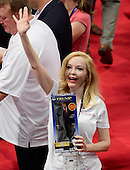 Florida delegate Dana Dougherty holds a Donald Trump doll on the floor of the 2016 Republican National Convention held at the Quicken Loans Arena in Cleveland, Ohio on Tuesday, July 19, 2016.<br /> Credit: Ron Sachs / CNP<br /> (RESTRICTION: NO New York or New Jersey Newspapers or newspapers within a 75 mile radius of New York City)