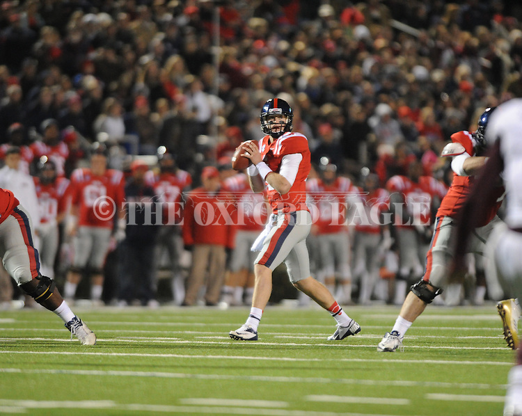 Ole Miss quarterback Bo Wallace (14) vs. Mississippi State at Vaught Hemingway Stadium in Oxford, Miss. on Saturday, November 24, 2012. Ole Miss won 41-24.