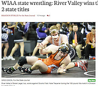River Valley's Shane Liegel (top) wins the Division 2, 160-pound championship bout over Oconto Falls' Nate Trepanier during the WIAA state individual wrestling tournament on Saturday, 2/25/17, at the Kohl Center in Madison, Wisconsin | Wisconsin State Journal Sports page 2/26/17 and online at http://host.madison.com/wsj/sports/high-school/wrestling/wiaa-state-wrestling-river-valley-wins-three-division-state-titles/article_4cb7d48d-0d18-5155-a4ba-45bfb2c0f7fc.html