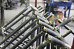 Steel frames hanging ready for the next process at the Tommasini factory based in Grosseto, Tuscany, Italy 6th March 2017.<br /> Picture: Eoin Clarke | Newsfile<br /> <br /> <br /> All photos usage must carry mandatory copyright credit (&copy; Newsfile | Eoin Clarke)