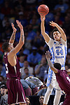 GREENVILLE, SC - MARCH 17: Justin Jackson (44) of the University of North Carolina passes the ball over Stephan Bennett (15) of Texas Southern University during the 2017 NCAA Men's Basketball Tournament held at Bon Secours Wellness Arena on March 17, 2017 in Greenville, South Carolina. (Photo by Grant Halverson/NCAA Photos via Getty Images)