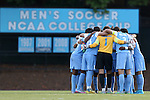 28 August 2015: UNC's starters huddle before the game. The University of North Carolina Tar Heels hosted the Florida International University Panthers at Fetzer Field in Chapel Hill, NC in a 2015 NCAA Division I Men's Soccer match. North Carolina won the game 1-0
