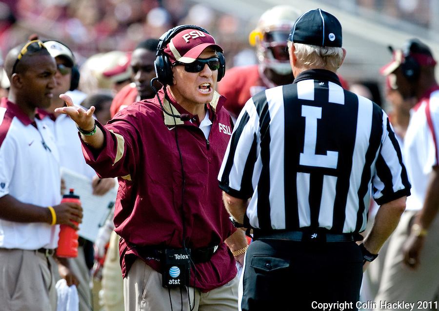 TALLAHASSEE, FL 9/3/11-FSU-ULM FB090311 CH-Florida State Head Coach Jimbo Fisher disputes a pass being called out of bounds in the end zone during first half action against the University of Louisiana at Monroe Saturday at Doak Campbell Stadium in Tallahassee. .COLIN HACKLEY PHOTO