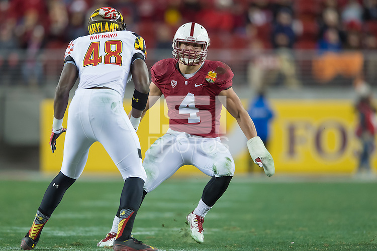 SANTA CLARA, CA - DECEMBER 30, 2014: Blake Martinez during Stanford's game against Maryland in the 2014 Foster Farms Bowl.  The Cardinal defeated the Terrapins 45-21.
