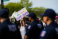 NEW YORK, NY - May 04:  Activist protest near the Intrepid Sea, Air and Space Museum as NYPD officers keep an eye on them before President Donald Trump arrive to city on May 04, 2017. in New York. U.S. president Trump will meet Australian Prime Minister Malcolm Turnbull on the 75th anniversary of the Battle of the Coral Sea by US and Australian forces against the Japanese In New York City. Photo by VIEWpress/Eduardo MunozAlvarez