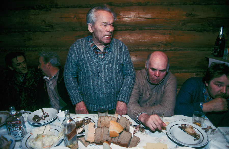 Izhevsk, Siberia, Russia, 10/11/1993.<br /> Weapons inventor Mikhail Kalashnikov makes a toast while on a hunting trip for deer, moose and elk on his birthday.