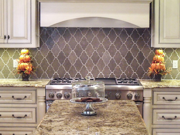 This custom mosaic backsplash features Djinn, a handmade mosaic shown in honed Montevideo, a part of the Silk Road Collection by Sara Baldwin for New Ravenna.<br /> <br /> For pricing samples and design help, click here: http://www.newravenna.com/showrooms/