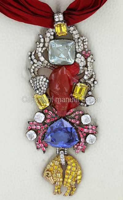Reproduction of the Jewel of the Order of the Golden Fleece, 2010, by Herbert Horovitz and his team of jewellers in Geneva, taking 600 hours of work, based on the original drawing by Pierre Andre Jacquemin, 1720-73, Jeweller to the King and Keeper of the Crown Jewels under Louis XV. The blue diamond set in this piece was brought to France from India by Jean-Baptiste Tavernier in 1668 and sold to Louis XIV. It was cut by Jean Pittan in a new 'rose de Paris' design and set in the Grand Insignia of the Order of the Golden Fleece in 1749 for Louis XV. In 1792 this piece and many others were stolen by a revolutionary mob from the Garde-Meuble Royal in Paris. The blue diamond was later re-cut to become the Hope Diamond, now in the Smithsonian Museum in Washington DC, USA, as proved by Francois Farges in 2008. Picture by Manuel Cohen