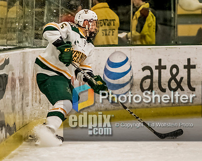 18 December 2016: University of Vermont Catamount Defenseman Rob Hamilton, a Senior from Calgary, Alberta, in first period action against the Union College Dutchmen at Gutterson Fieldhouse in Burlington, Vermont. The Catamounts fell to their former ECAC hockey rivals 2-1, as the Dutchmen sweep the two-game weekend series. Mandatory Credit: Ed Wolfstein Photo *** RAW (NEF) Image File Available ***