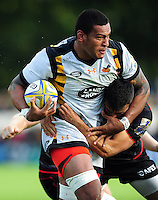 Nathan Hughes of Wasps is tackled by Alex Lozowski of Saracens. Aviva Premiership match, between Saracens and Wasps on October 9, 2016 at Allianz Park in London, England. Photo by: Patrick Khachfe / JMP