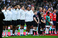 The England team sing the national anthem prior to the match. Old Mutual Wealth Series International match between England and Fiji on November 19, 2016 at Twickenham Stadium in London, England. Photo by: Patrick Khachfe / Onside Images