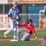 4 September 2016: Lowell Spinners infielder C.J. Chatham slides safely into second during a game against the Vermont Lake Monsters at Centennial Field in Burlington, Vermont. The Spinners defeated the Lake Monsters 8-3 in NY Penn League action. Mandatory Credit: Ed Wolfstein Photo *** RAW (NEF) Image File Available ***